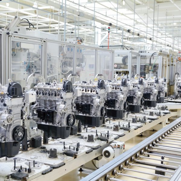 Production line for manufactoring of the engines in the car factory.